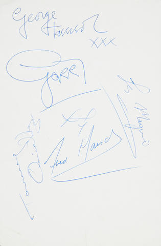 The Beatles/ George Harrison: A Beatles publicity card autographed by George Harrison, 1963,