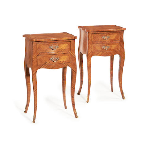 A pair of French 19th century tulipwood petit commodes  possibly North Italian