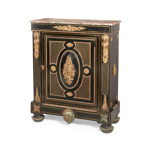 A Napoleon III gilt bronze mounted and brass inlaid ebony and ebonised meuble à hauteur d'appui