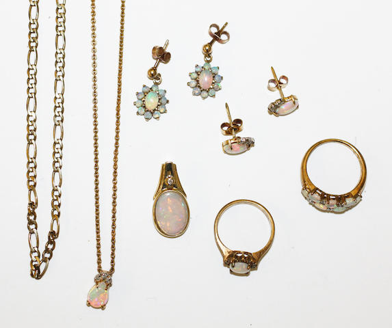 A small collection of opal set jewellery, including an opal and diamond set pendant and earstud suite, a apir of opal cluster drop earpendants, an opal and diamond pendant and two opal and diamond rings, together with flattened curb-link chain.