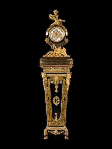 A French 19th century and later ormolu-mounted and brass-inlaid, tortoiseshell, ebony and ebonised Boulle style marquetry clock on pedestal