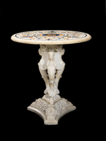 Pietre dure table top on carved white marble base
