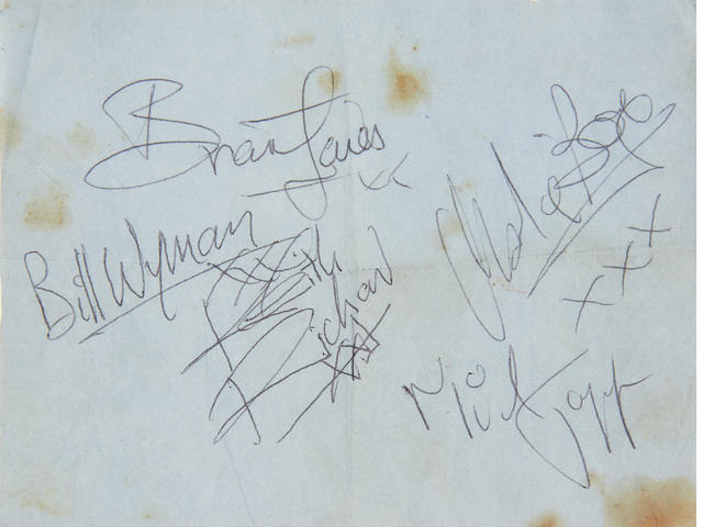 The Rolling Stones: A copy of their debut LP and a set of autographs, 1964,