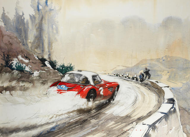 Dion Pears (British, 1929-1985) 'Austin Healey on the Akropolis Rally',