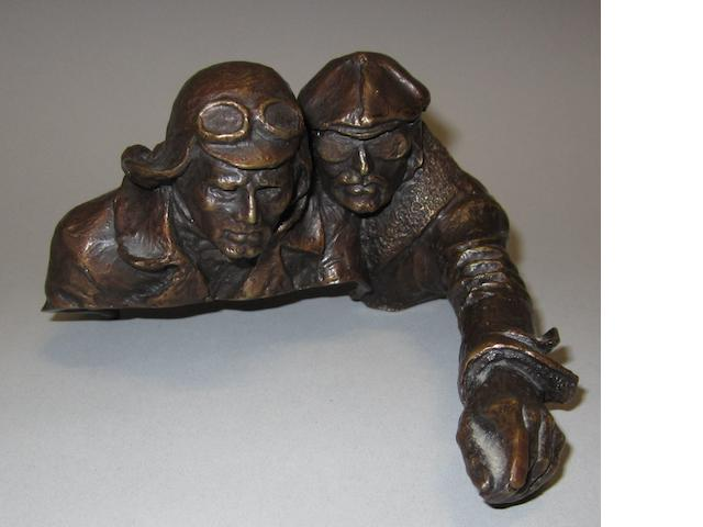 Stanley Wanlass; Driver and Mechanic study in bronze,