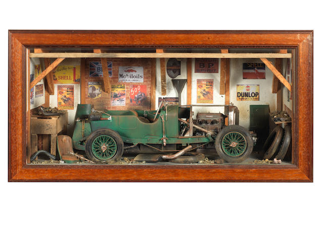 A 4½ Litre Bentley garage diorama by Classic Car Art,