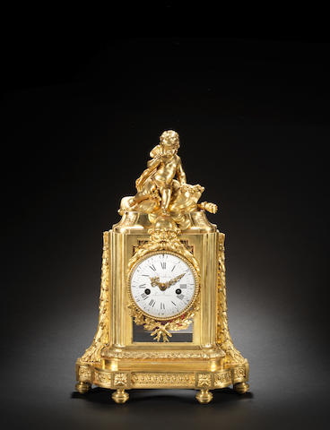 A fine and rare late 18th century French ormolu mantel clock depicting the Victory of Love over Time Mathieu Le Jeune