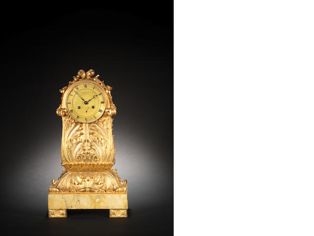 A fine and rare first quarter of the 19th century French ormolu mantel clock of fifteen-day duration and with state of wind indication on the dial  Louis Mallett, Horologer de Mgr le Duc D'Orleans