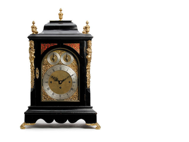 A late 19th century quarter striking and chiming musical ebonised table clock with quarter repeat J.C. Jennens, London fl.1861-75