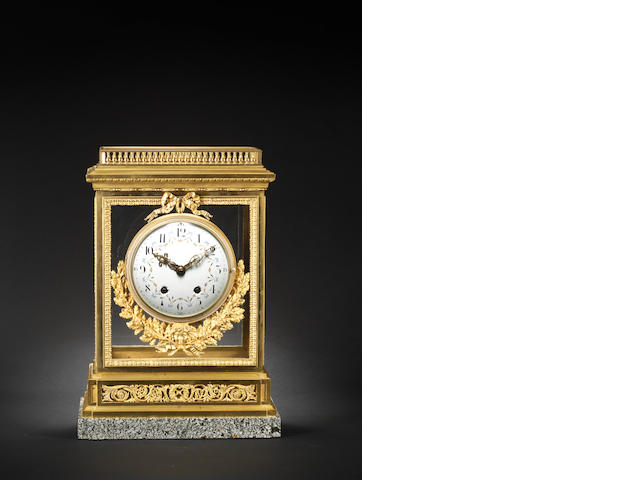 An impressive late 19th century gilt bronze and marble four glass mantel clock The movement by A D Mougin