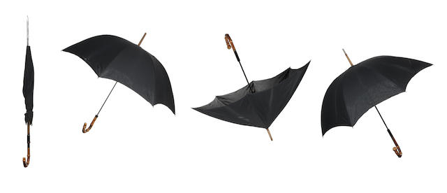 The Beatles: a set of four prop umbrellas from 'Help!' and film script, 1965,