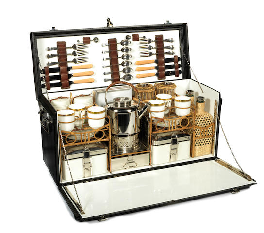 A fine cased picnic set for six persons, by G W Scott & Sons, circa 1914,
