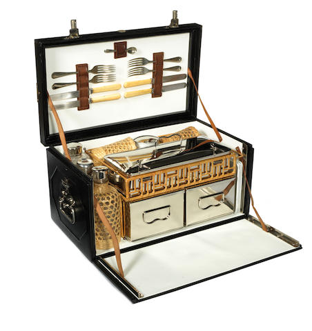 A leather-cased picnic set for four persons, by Drew & Sons, circa 1905,