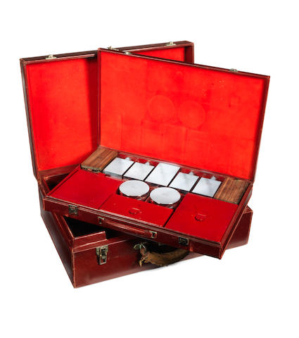 A leather combined suitcase and vanity set by Hermes, Paris, 1920s,