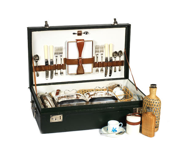 A Coracle cased picnic set for four persons, by G W Scott & Sons, 1920s,