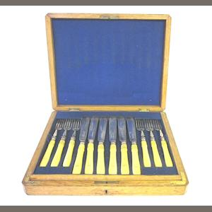 A cased set of  silver and ivory handle fish knives and forks Harrison Bros. & Howson, Sheffield 1881