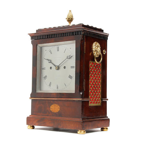 A fine early 19th century inlaid mahogany bracket clock T. Cox Savory 47 Cornwall, London