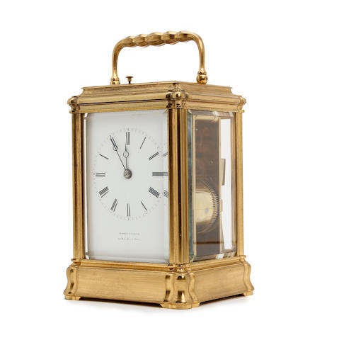 19th century French gilt brass grande sonnerie carriage clock with repeat Henry Jacot, Paris