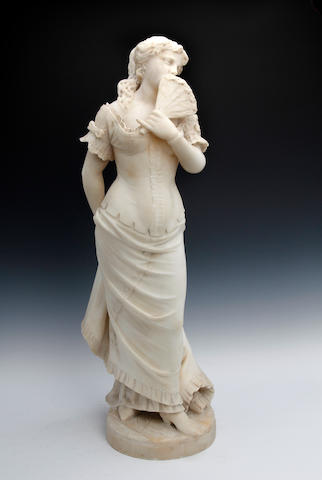 A late 19th century carved white marble figure of a maiden