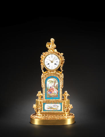 A good second half of the 19th century French porcelain mounted gilt brass mantel clock Ene. Lenoir a Paris