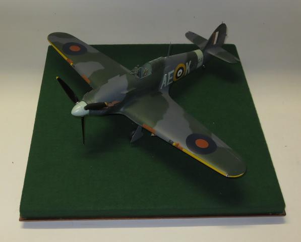 A 1:24 scale model of a Hawker Hurricane, by Douglas Bone,