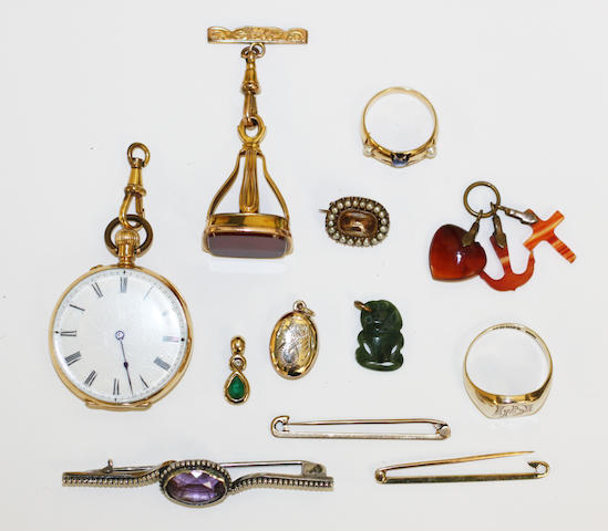 An 18ct gold fob watch and miscellaneous items,