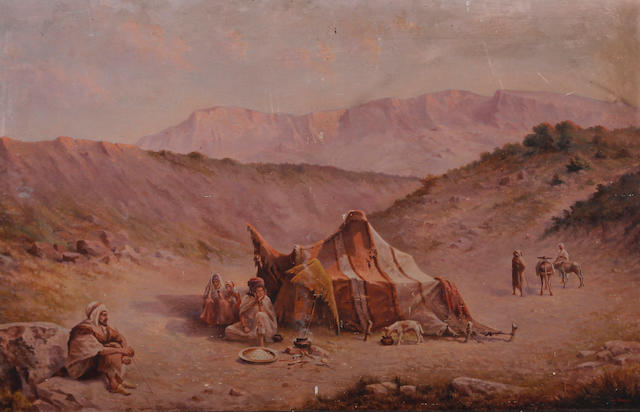 G. de Toursky, (later 19th century) A bedouin encampment with donkeys and camels