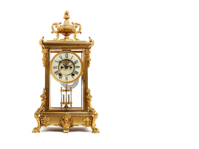 A late 19th century ormolu four glass mantel clock Ansonia clock company New York