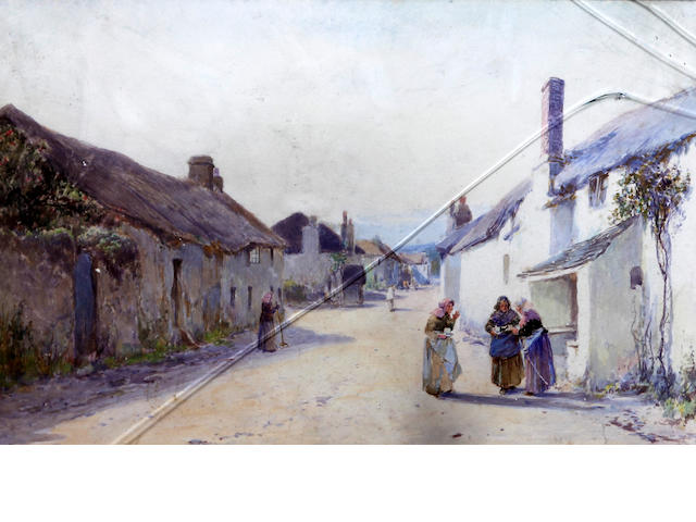 John White, R.I. (British, 1851-1933) Women chatting in a village street, possibly Devon