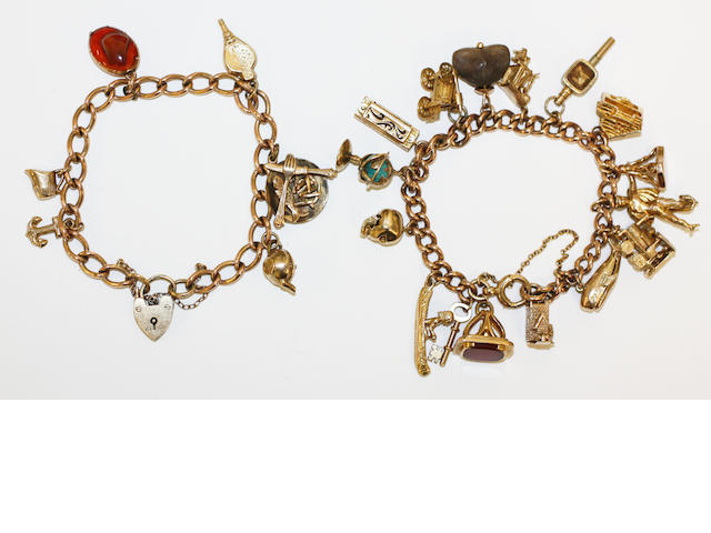 Two 9ct gold charm bracelets,