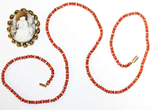 A shell cameo brooch and a coral bead necklace, (2)