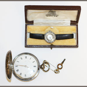 A diamond cocktail watch and a silver pocket watch,