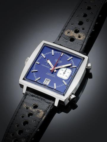 A Heuer stainless steel automatic calendar chronograph wristwatch Monaco, Ref:1533 B, Circa 1972