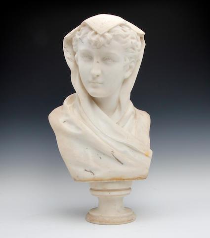 A late 19th century Italian white marble bustSigned 'R. Battelli'