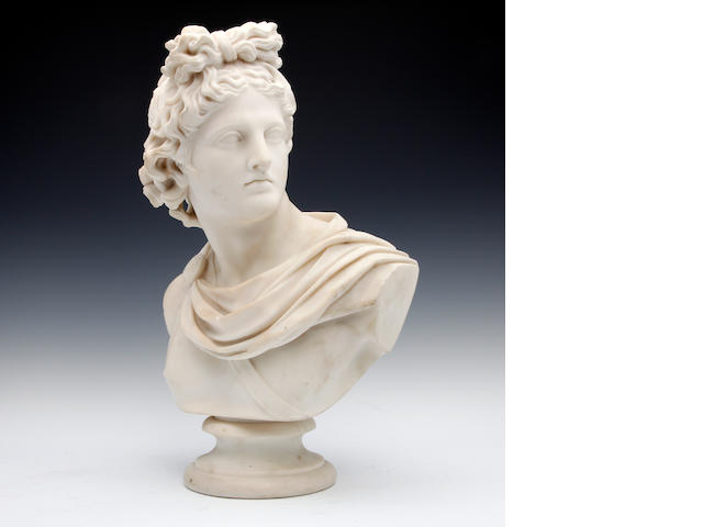 A marble bust of a classical youth, late 19th/early 20th centurySigned 'J. WOOD'