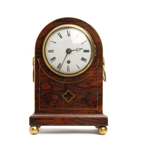 A Regency rosewood cased brass inlaid mantle clock Bracebridges, Clerkenwell, London