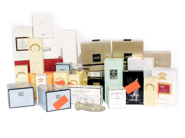 A large group of designer perfume