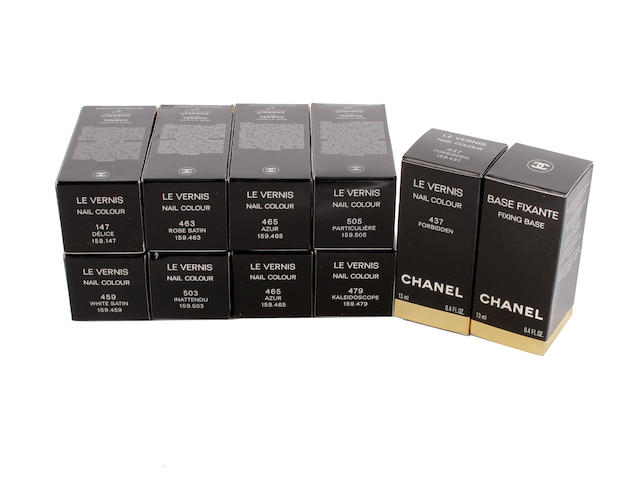 A group of ten Chanel nail varnishes