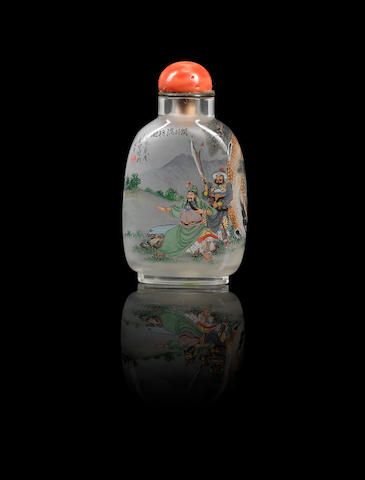 An inside-painted rock crystal 'Guanyu subduing a general' snuff bottle Liu Shouben, dated 1997
