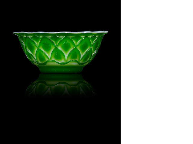 A green glass overlay 'lotus' bowl Mid Qing dynasty