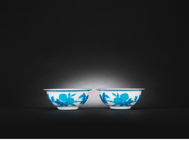 A pair of blue overlay glass 'morning glory' bowls Mid Qing dynasty