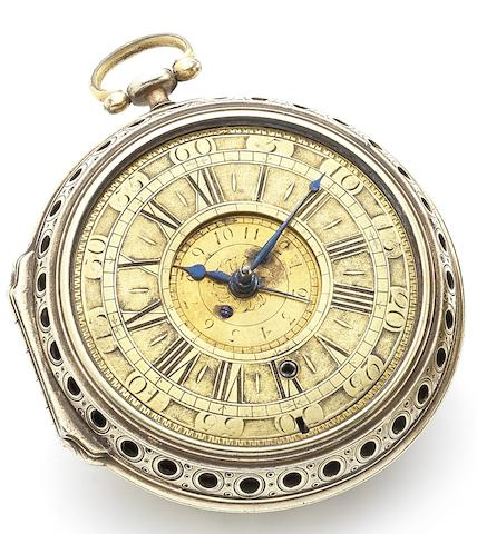 Charles Charleson. A fine and rare early 18th century alarm pocket watch in gilt metal pierced and embellished caseCirca 1700