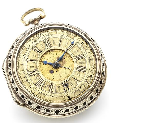 Charles Charleson. A fine and rare early 18th century alarm pocket watch in gilt metal pierced and embellished case Circa 1700