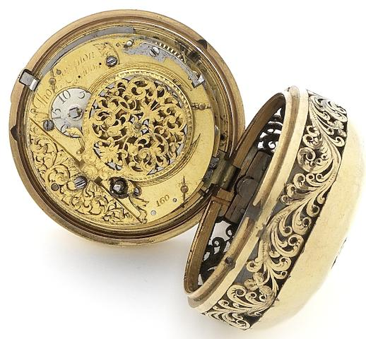 Thomas Tompion. A late 17th early 18th century gilt metal pair case quarter repeating pocket watch movement in later caseNumbered 160, Circa 1710