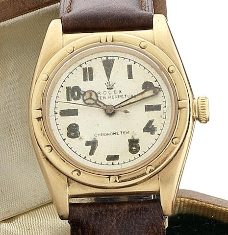 Rolex. A 14ct gold manual wind centre seconds wristwatch Oyster Perpetual, Ref:3372, Movement No.15481, Circa 1950
