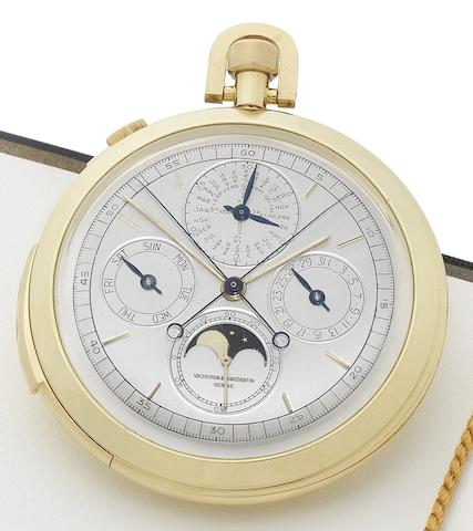 Vacheron Constantin. A very fine and important 18ct yellow gold astronomical keyless minute-repeating dress watch with perpetual calendar, phase and age of the moon, split-seconds chronograph and progressive 30 minute register together with a Vacheron Constantin Certificate of Authenticity Genève, No.511624, Case No.360509, Ref.6526. Made in 1964