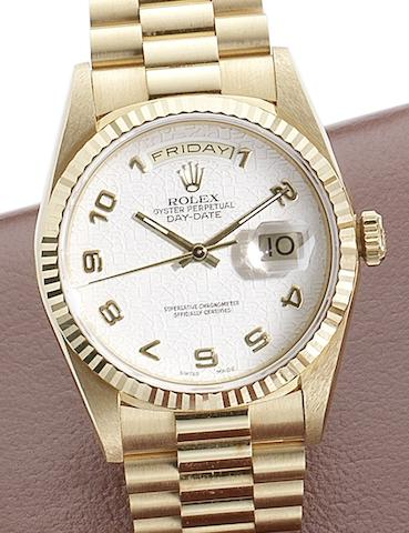 Rolex. An 18ct gold automatic calendar bracelet watchRef:18238 Serial No.X261***, Circa 1991