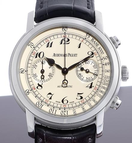Audemars Piguet. A fine and rare 18ct white gold chronograph wristwatch together with box and papersJules Audemars, Case No.G48879, Sold 12th November 2009
