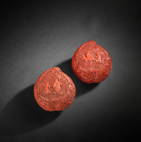 A pair of cinnabar lacquer peach-shaped boxes and covers Qianlong