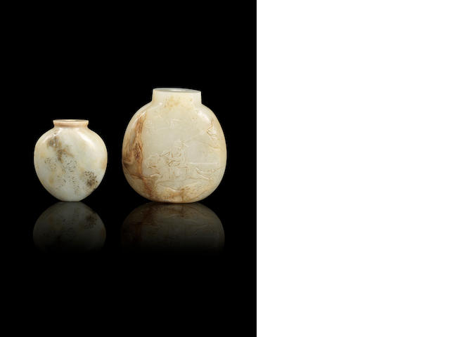 Two incised nephrite snuff bottles Qing dynasty